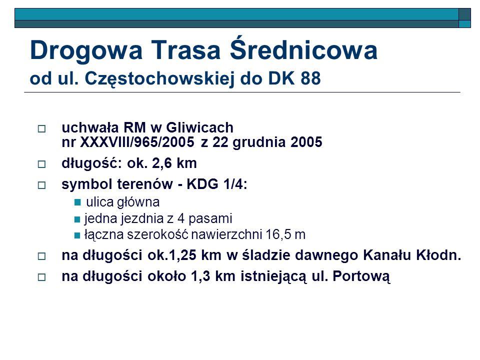 Drogowa Trasa Średnicowa od ul. Częstochowskiej do DK 88 uchwała RM w Gliwicach nr XXXVIII/965/2005 z 22 grudnia 2005 długość: ok. 2,6 km symbol teren