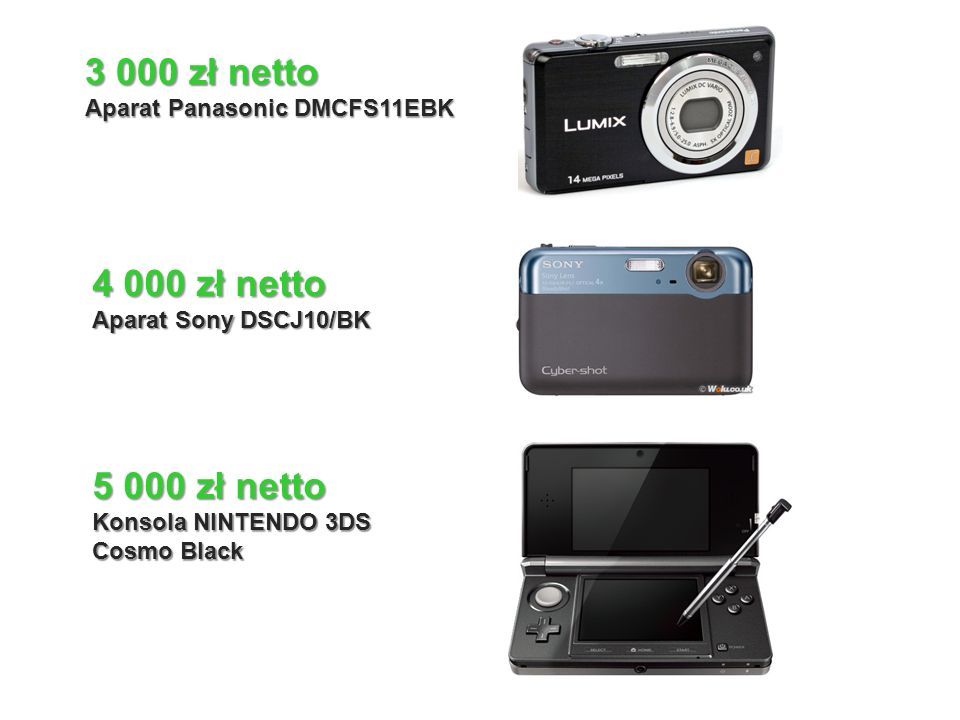 8 000 zł netto Netbook TOSHIBA NB550D-10H C50 lub Telewizor PHILIPS 19 14 000 zł netto APPLE IPAD2 16GB