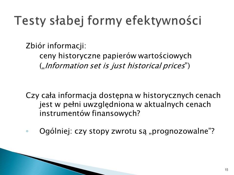 Zbiór informacji: ceny historyczne papierów wartościowych (Information set is just historical prices) Czy cała informacja dostępna w historycznych cen