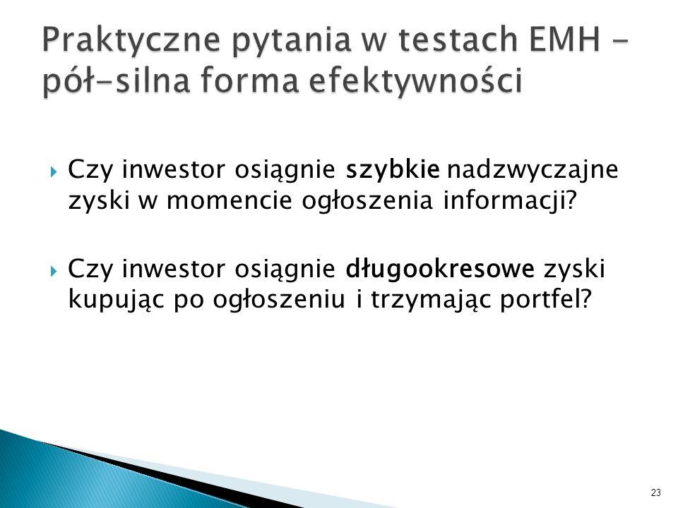 Czy inwestor osiągnie szybkie nadzwyczajne zyski w momencie ogłoszenia informacji? Czy inwestor osiągnie długookresowe zyski kupując po ogłoszeniu i t