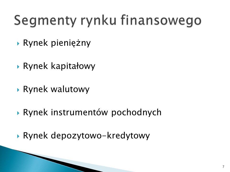 Rynek pieniężny Rynek kapitałowy Rynek walutowy Rynek instrumentów pochodnych Rynek depozytowo-kredytowy 7