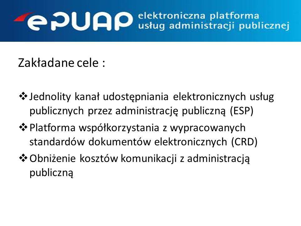 Zakładane cele : Jednolity kanał udostępniania elektronicznych usług publicznych przez administrację publiczną (ESP) Platforma współkorzystania z wypr