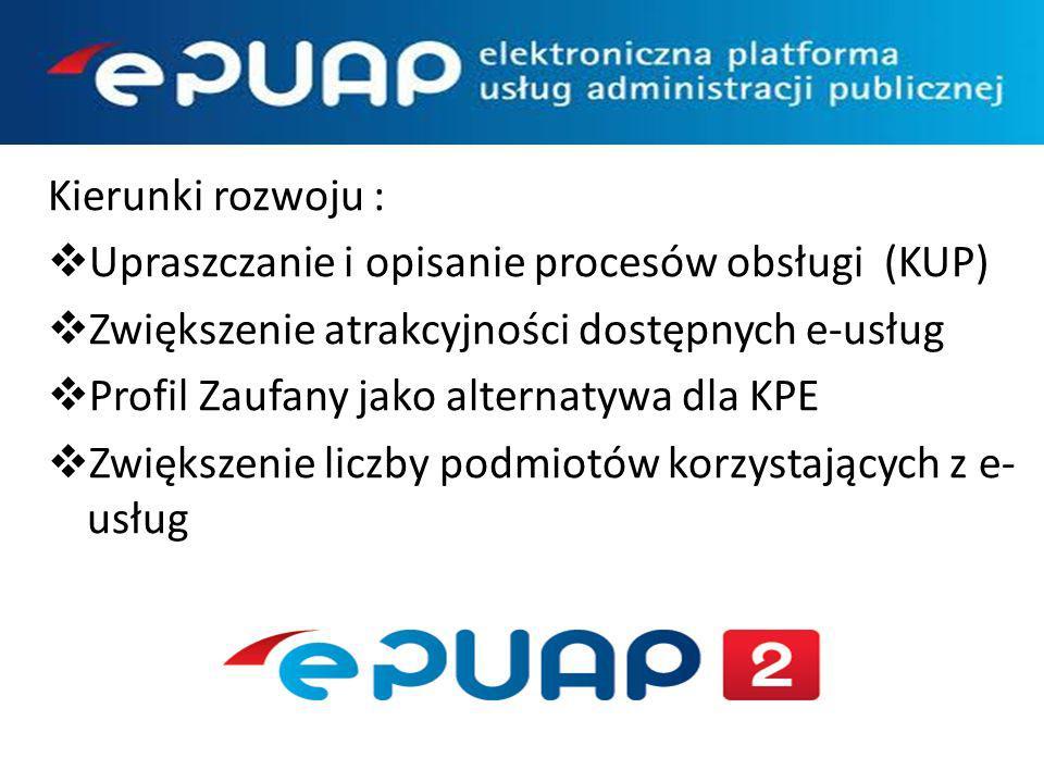 Kierunki rozwoju : Upraszczanie i opisanie procesów obsługi (KUP) Zwiększenie atrakcyjności dostępnych e-usług Profil Zaufany jako alternatywa dla KPE