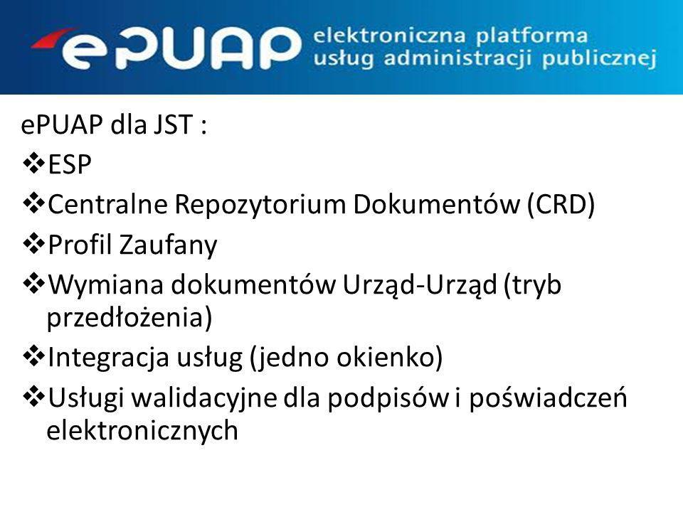 ePUAP dla JST : ESP Centralne Repozytorium Dokumentów (CRD) Profil Zaufany Wymiana dokumentów Urząd-Urząd (tryb przedłożenia) Integracja usług (jedno