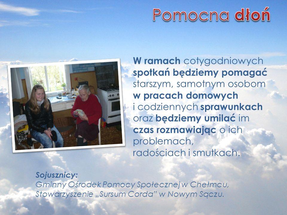 Sojusznicy: Gminny Ośrodek Pomocy Społecznej w Chełmcu, Stowarzyszenie Sursum Corda w Nowym Sączu. W ramach cotygodniowych spotkań będziemy pomagać st