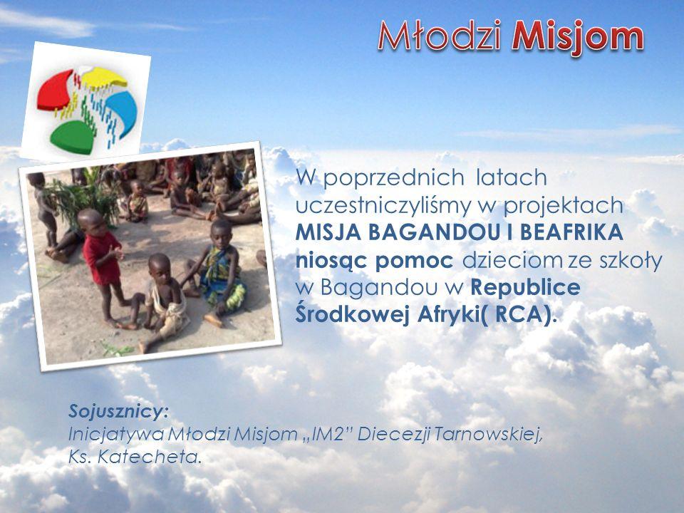 Sojusznicy: Inicjatywa Młodzi Misjom IM2 Diecezji Tarnowskiej, Ks. Katecheta. W poprzednich latach uczestniczyliśmy w projektach MISJA BAGANDOU I BEAF