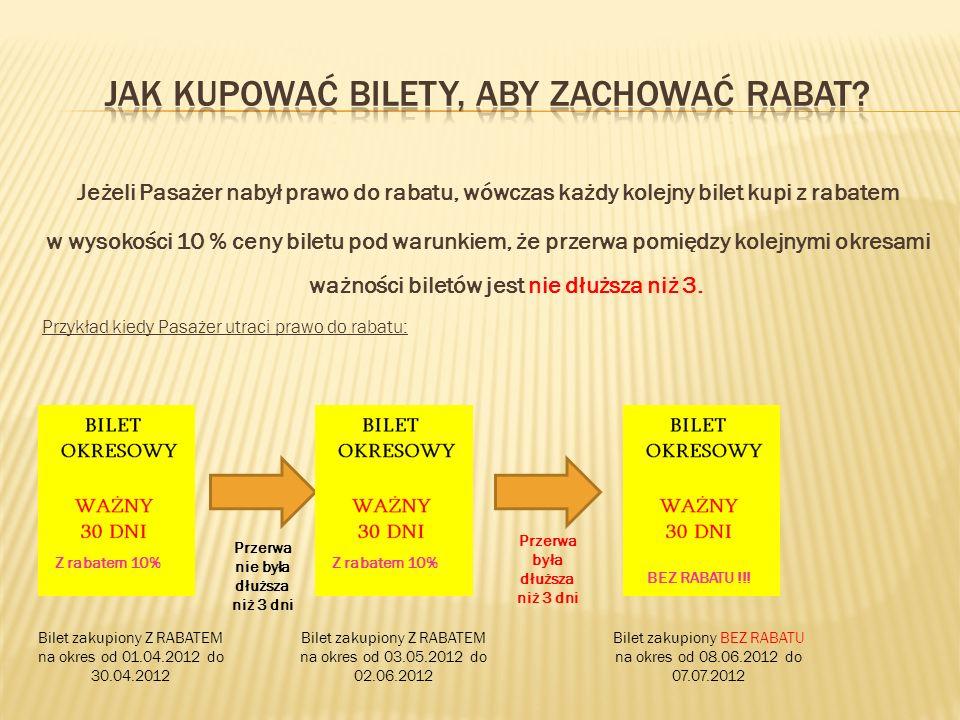Jeżeli Pasażer nabył prawo do rabatu, wówczas każdy kolejny bilet kupi z rabatem w wysokości 10 % ceny biletu pod warunkiem, że przerwa pomiędzy kolej