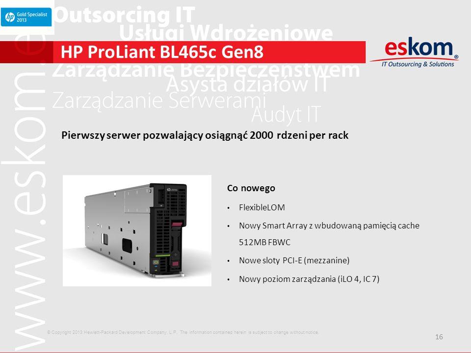 16 HP ProLiant BL465c Gen8 Pierwszy serwer pozwalający osiągnąć 2000 rdzeni per rack Co nowego FlexibleLOM Nowy Smart Array z wbudowaną pamięcią cache
