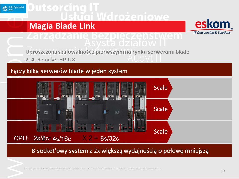 19 Magia Blade Link Scale Łączy kilka serwerów blade w jeden system 8-socketowy system z 2x większą wydajnością o połowę mniejszą Uproszczona skalowal