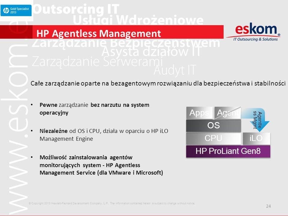 24 HP Agentless Management Całe zarządzanie oparte na bezagentowym rozwiązaniu dla bezpieczeństwa i stabilności Pewne zarządzanie bez narzutu na syste