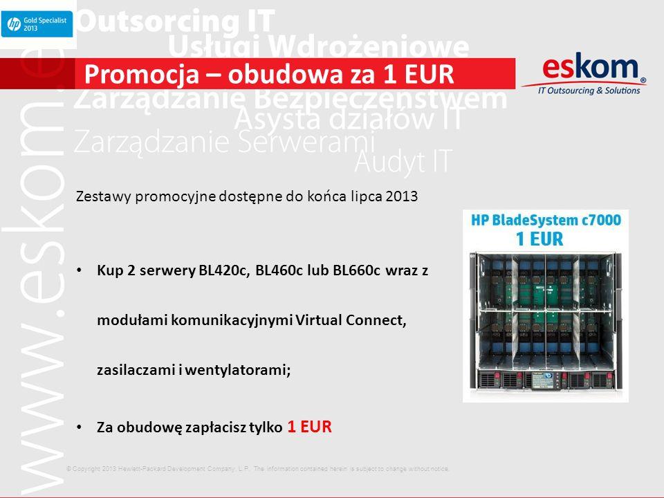 Promocja – obudowa za 1 EUR Zestawy promocyjne dostępne do końca lipca 2013 Kup 2 serwery BL420c, BL460c lub BL660c wraz z modułami komunikacyjnymi Vi