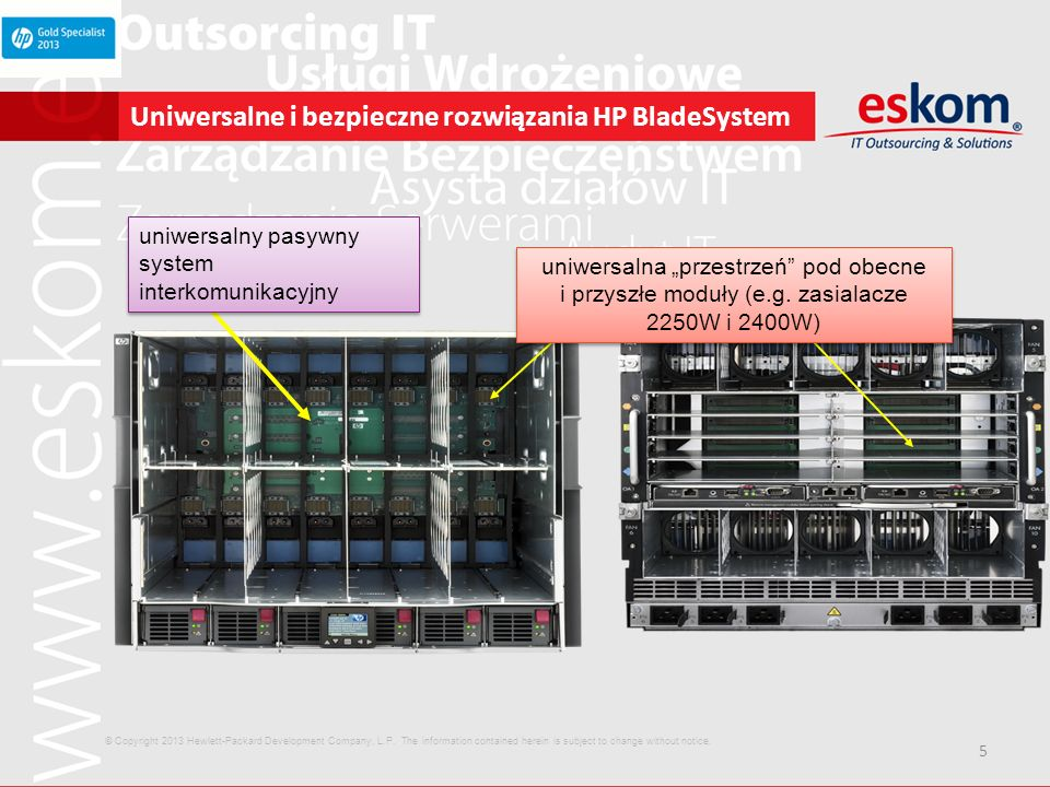 5 Uniwersalne i bezpieczne rozwiązania HP BladeSystem uniwersalny pasywny system interkomunikacyjny uniwersalna przestrzeń pod obecne i przyszłe moduł