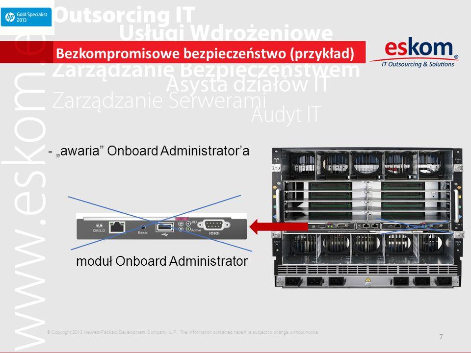 18 HP ProLiant BL660c Gen8 Co nowego Wydajność maszyny 4-procesorowej w małym formacie Do czterech procesorów E5-4600 32 DIMM sloty na pamięć, do 1.0TB pamięci HP SmartMemory Trzy sloty PCIe 3.0 FlexibleLOM Smart Array Controller z 512MB FBWC iLO 4 © Copyright 2013 Hewlett-Packard Development Company, L.P.