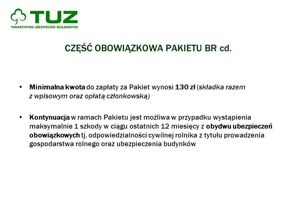 CZĘŚĆ OBOWIĄZKOWA PAKIETU BR cd. Minimalna kwota do zapłaty za Pakiet wynosi 130 zł (składka razem z wpisowym oraz opłatą członkowską) Kontynuacja w r