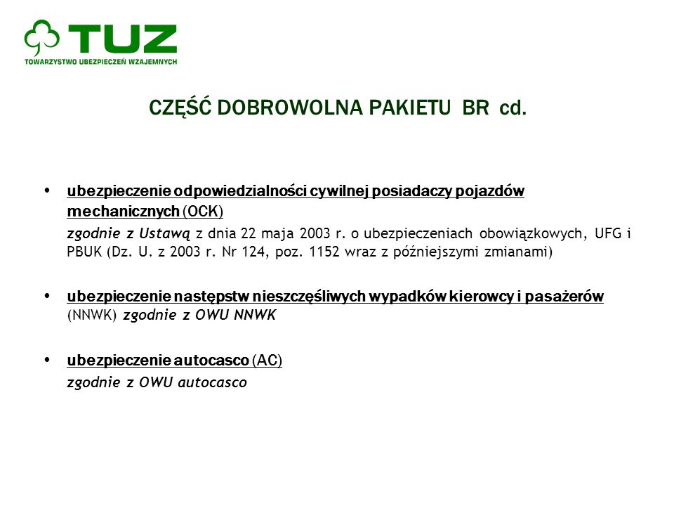 CZĘŚĆ DOBROWOLNA PAKIETU BR cd. ubezpieczenie odpowiedzialności cywilnej posiadaczy pojazdów mechanicznych (OCK) zgodnie z Ustawą z dnia 22 maja 2003