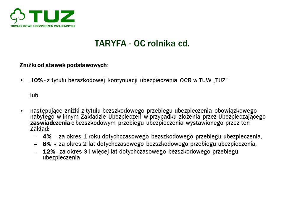 TARYFA - OC rolnika cd. Zniżki od stawek podstawowych: 10% - z tytułu bezszkodowej kontynuacji ubezpieczenia OCR w TUW TUZ lub następujące zniżki z ty