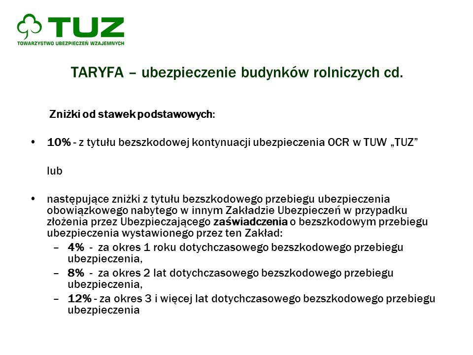 TARYFA – ubezpieczenie budynków rolniczych cd. Zniżki od stawek podstawowych: 10% - z tytułu bezszkodowej kontynuacji ubezpieczenia OCR w TUW TUZ lub