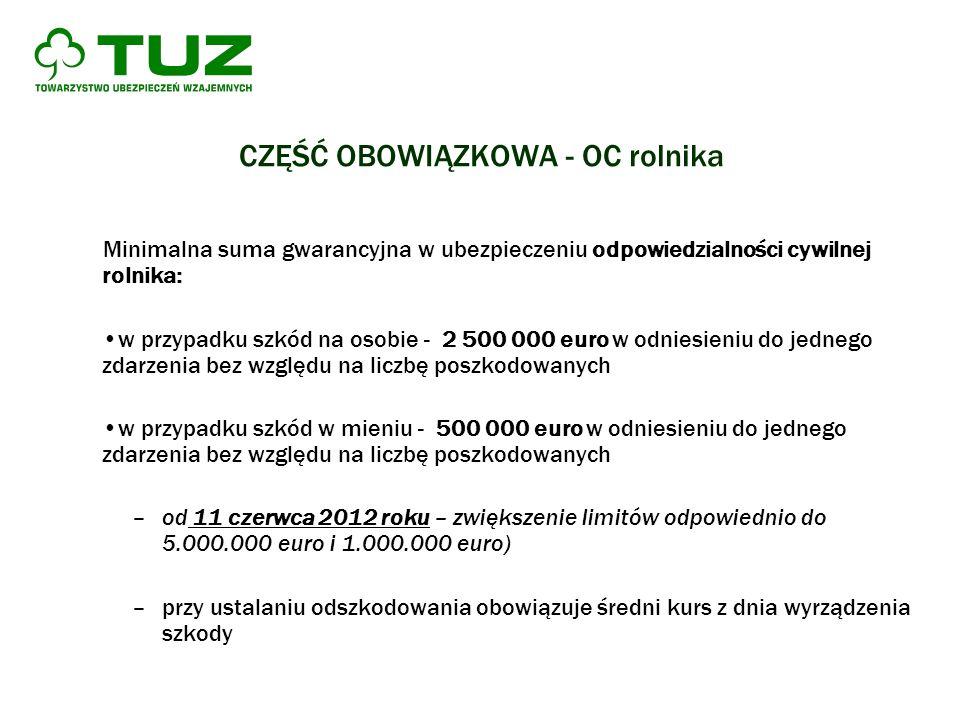 CZĘŚĆ OBOWIĄZKOWA - OC rolnika Minimalna suma gwarancyjna w ubezpieczeniu odpowiedzialności cywilnej rolnika: w przypadku szkód na osobie - 2 500 000