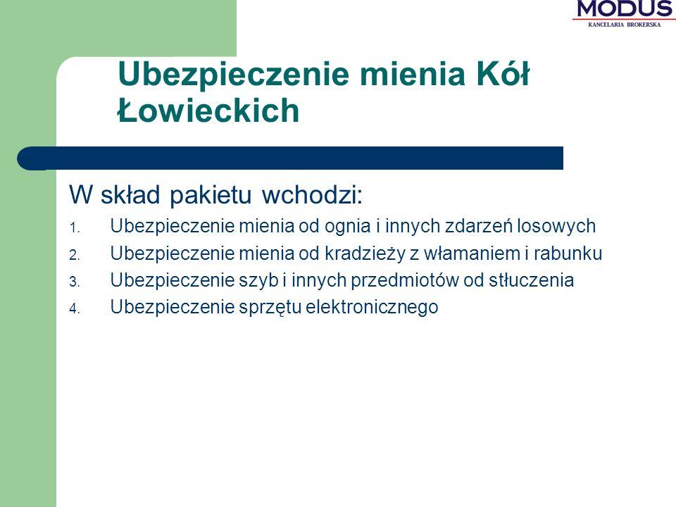 Ubezpieczenie mienia Kół Łowieckich W skład pakietu wchodzi: 1.
