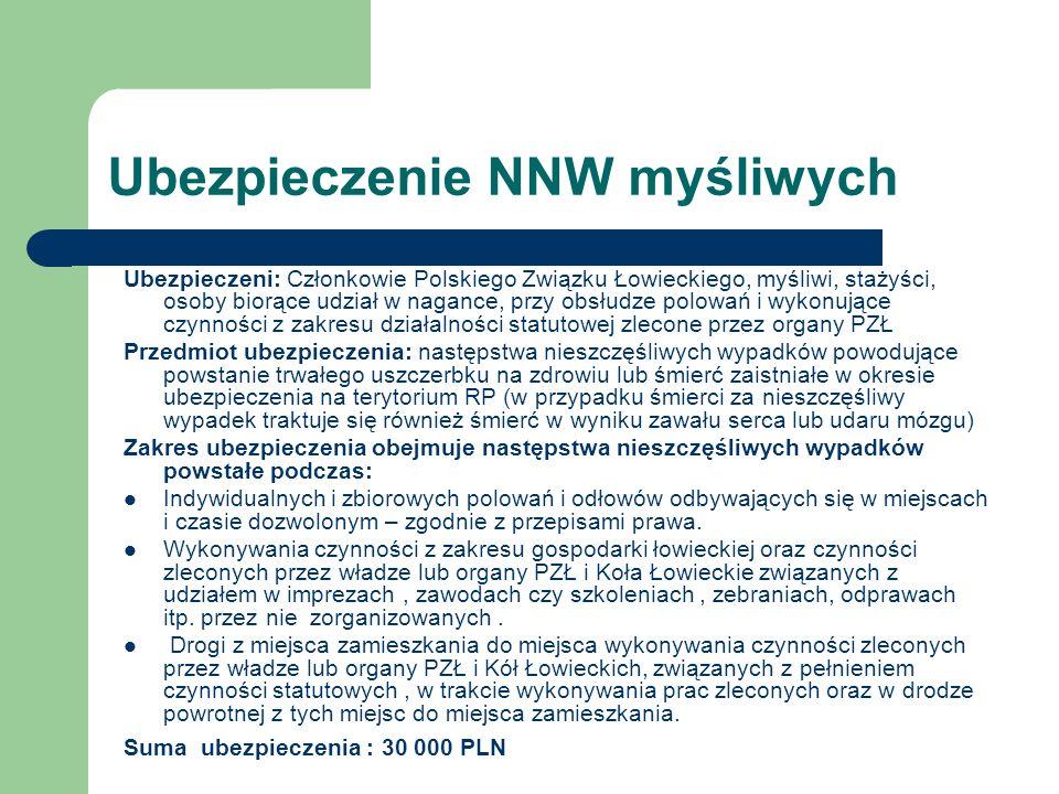 Ubezpieczenie NNW myśliwych Wysokość świadczeń: świadczenie na wypadek śmierci- 30 000 PLN świadczeni na wypadek śmierci w następstwie zawału serca lub udaru mózgu - 30 000 PLN świadczenie na wypadek trwałego uszczerbku na zdrowiu- 300 PLN za 1% orzeczonego trwałego uszczerbku na zdrowiu Świadczenie na wypadek trwałego uszczerbku spowodowanego rykoszetującym pociskiem: - uszczerbek do 20%- wypłata 300 PLN za 1% orzeczonego uszczerbku - uszczerbek od 21% do 50%- wypłata 300 PLN za 1% orzeczonego uszczerbku do 20%, oraz dodatkowo za każdy % uszczerbku powyżej 20% max do 50% wypłata 450 PLN - uszczerbek powyżej 51%- wypłacane jest świadczenie stanowiące 65% sumy ubezpieczenia( 19 500 PLN) oraz dodatkowo świadczenie w wysokości 600 PLN za każdy % orzeczonego uszczerbku powyżej 50%.