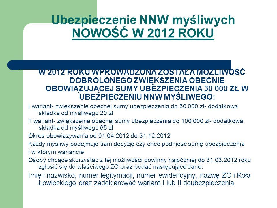 Ubezpieczenie NNW myśliwych NOWOŚĆ W 2012 ROKU W 2012 ROKU WPROWADZONA ZOSTAŁA MOŻLIWOŚĆ DOBROLONEGO ZWIĘKSZENIA OBECNIE OBOWIĄZUJĄCEJ SUMY UBEZPIECZE