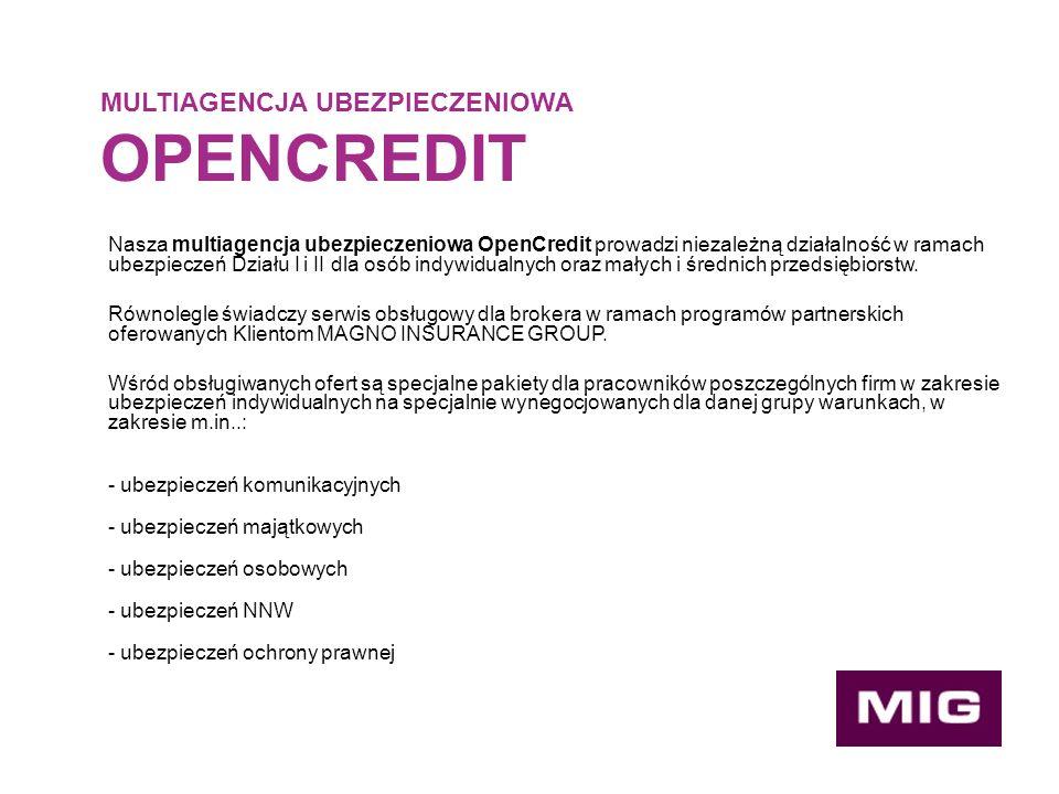 MULTIAGENCJA UBEZPIECZENIOWA OPENCREDIT Nasza multiagencja ubezpieczeniowa OpenCredit prowadzi niezależną działalność w ramach ubezpieczeń Działu I i II dla osób indywidualnych oraz małych i średnich przedsiębiorstw.