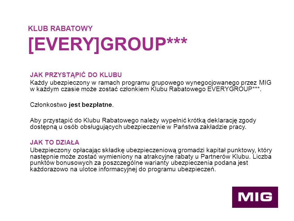 JAK PRZYSTĄPIĆ DO KLUBU Każdy ubezpieczony w ramach programu grupowego wynegocjowanego przez MIG w każdym czasie może zostać członkiem Klubu Rabatowego EVERYGROUP***.