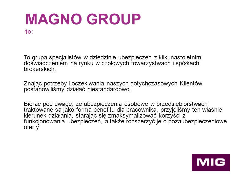 MAGNO GROUP to: To grupa specjalistów w dziedzinie ubezpieczeń z kilkunastoletnim doświadczeniem na rynku w czołowych towarzystwach i spółkach brokerskich.