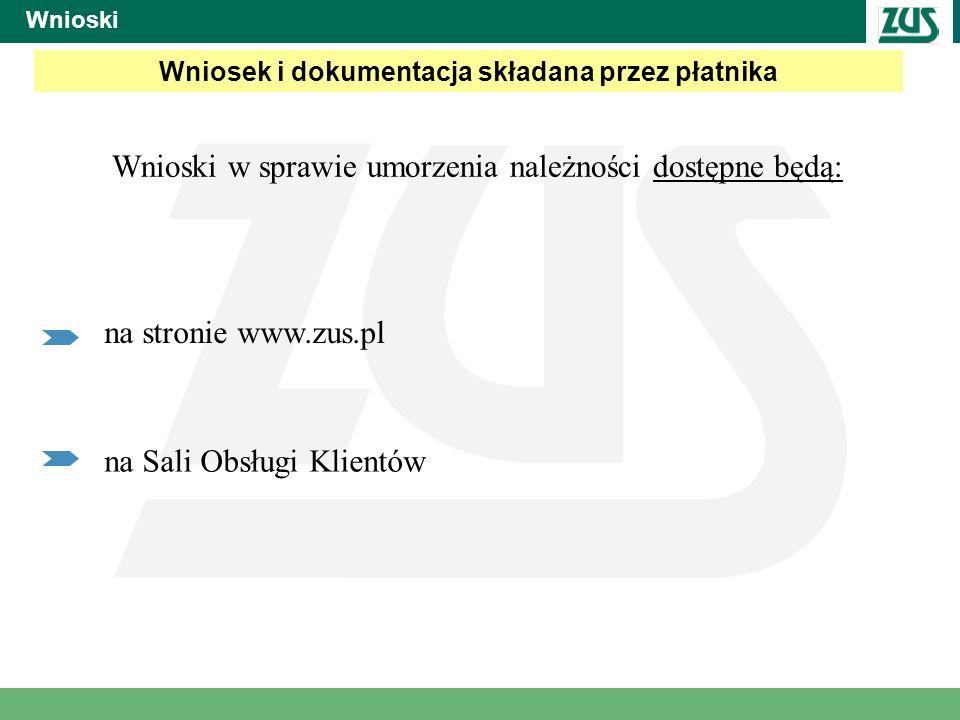 Wniosek i dokumentacja składana przez płatnika Wnioski w sprawie umorzenia należności dostępne będą: Wnioski na stronie www.zus.pl na Sali Obsługi Kli