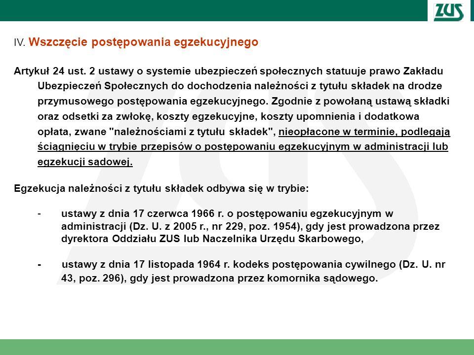 IV. Wszczęcie postępowania egzekucyjnego Artykuł 24 ust. 2 ustawy o systemie ubezpieczeń społecznych statuuje prawo Zakładu Ubezpieczeń Społecznych do