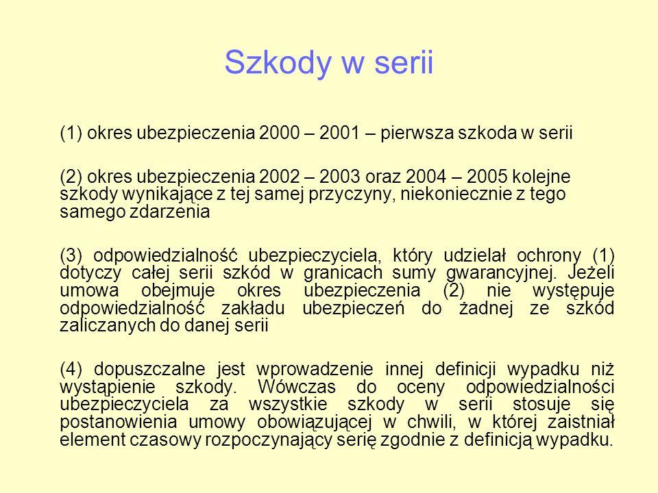Szkody w serii (1) okres ubezpieczenia 2000 – 2001 – pierwsza szkoda w serii (2) okres ubezpieczenia 2002 – 2003 oraz 2004 – 2005 kolejne szkody wynik