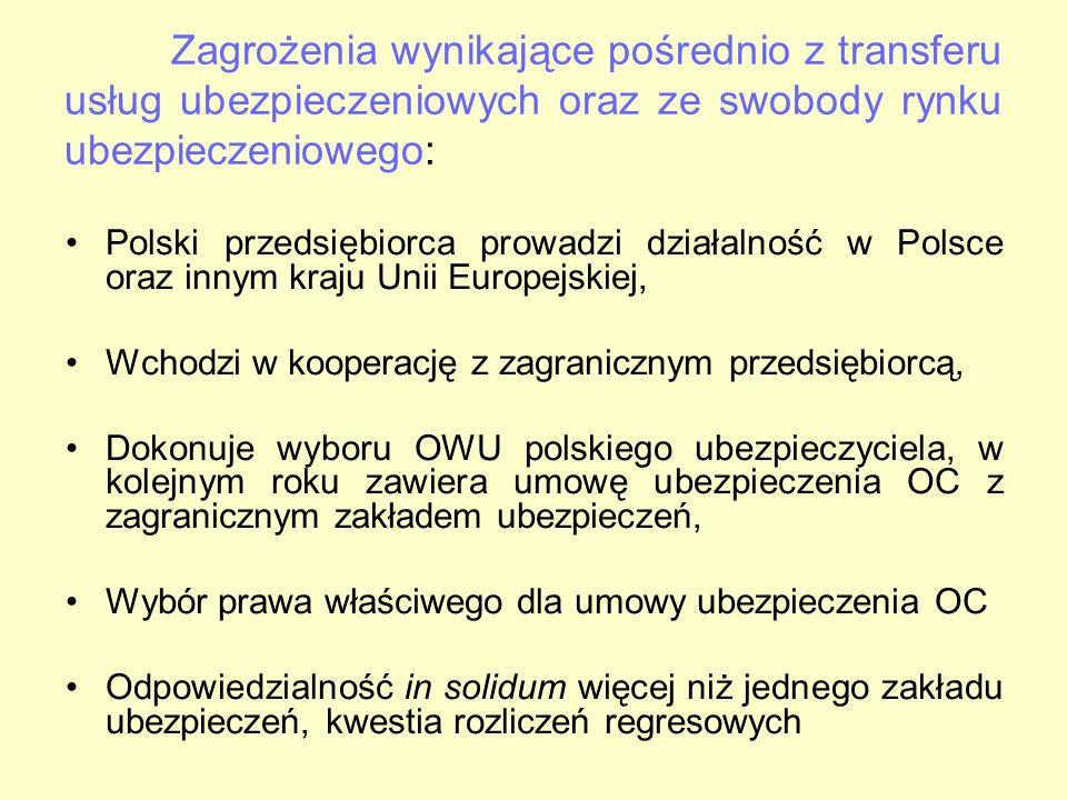 Zagrożenia wynikające pośrednio z transferu usług ubezpieczeniowych oraz ze swobody rynku ubezpieczeniowego: Polski przedsiębiorca prowadzi działalnoś