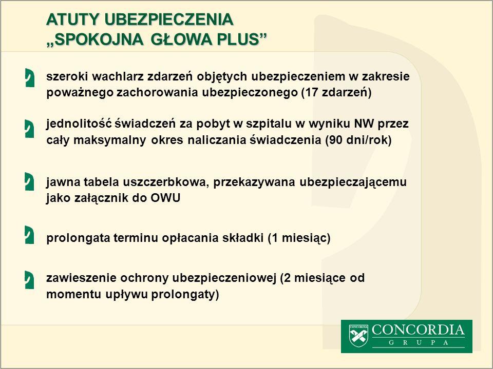 szeroki wachlarz zdarzeń objętych ubezpieczeniem w zakresie poważnego zachorowania ubezpieczonego (17 zdarzeń) jednolitość świadczeń za pobyt w szpita