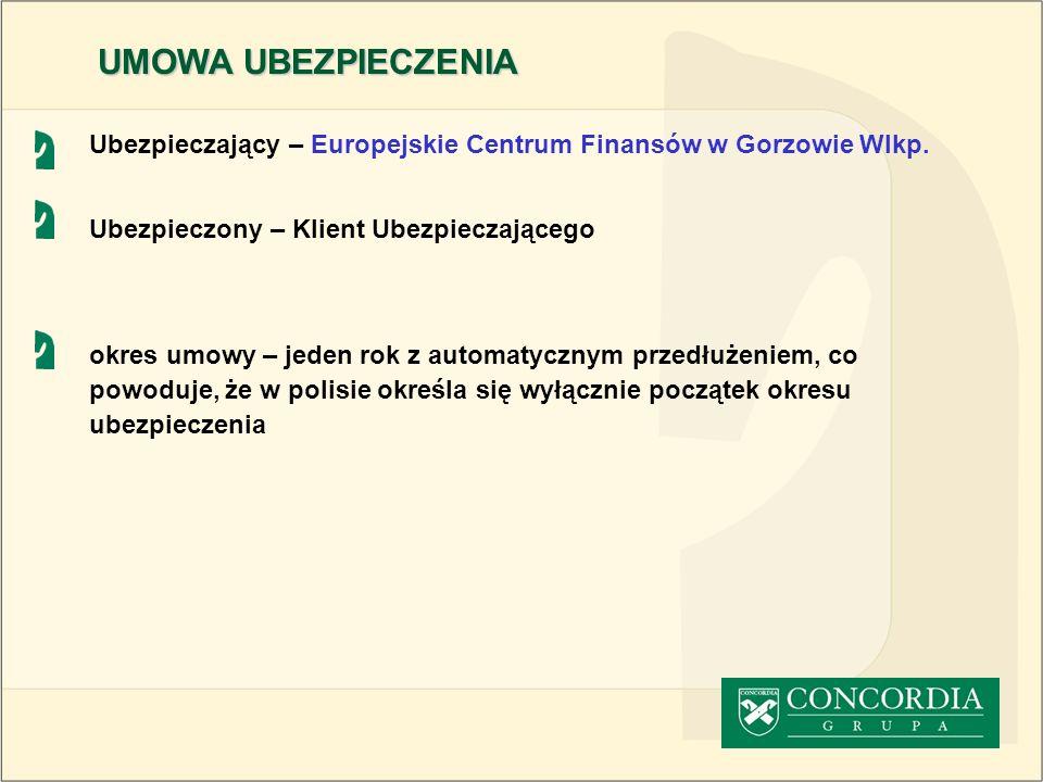 Ubezpieczający – Europejskie Centrum Finansów w Gorzowie Wlkp. Ubezpieczony – Klient Ubezpieczającego okres umowy – jeden rok z automatycznym przedłuż