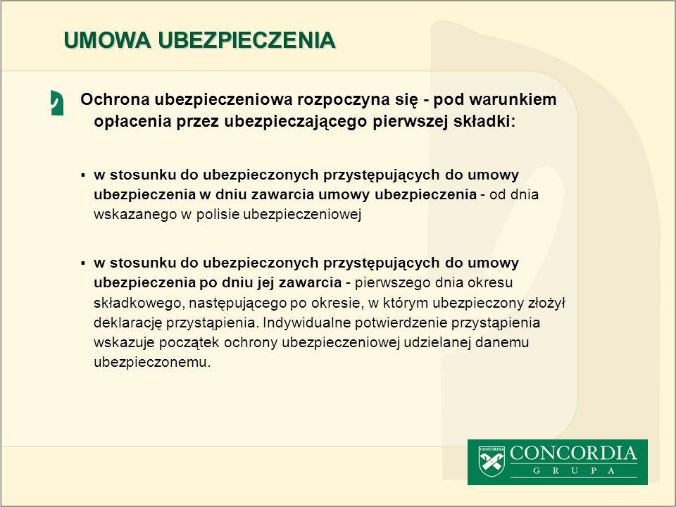 Koniec ochrony ubezpieczeniowej (cd.) wystąpienie ubezpieczonego z ubezpieczenia nieopłacenie składki ubezpieczeniowej w dniu jej wymagalności z zastrzeżeniem okresu prolongaty (1 miesiąc) i zawieszenia ochrony (2 miesiące) śmierć ubezpieczonego UMOWA UBEZPIECZENIA
