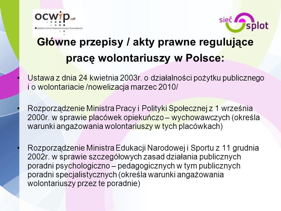 Główne przepisy / akty prawne regulujące pracę wolontariuszy w Polsce: Ustawa z dnia 24 kwietnia 2003r. o działalności pożytku publicznego i o wolonta