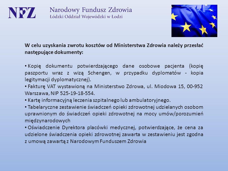 W celu uzyskania zwrotu kosztów od Ministerstwa Zdrowia należy przesłać następujące dokumenty: Kopię dokumentu potwierdzającego dane osobowe pacjenta