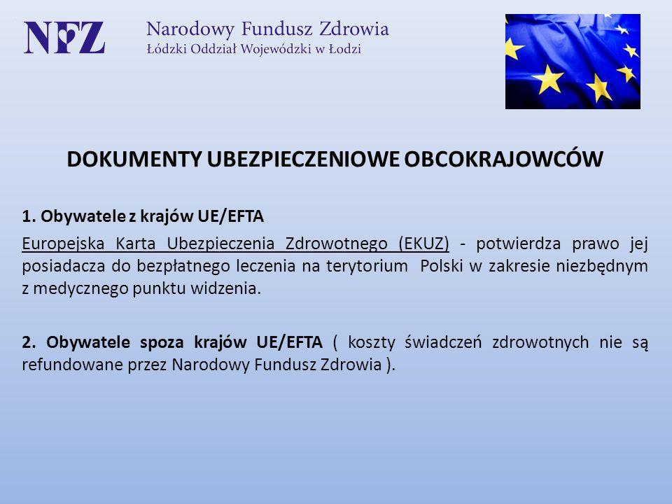 DOKUMENTY UBEZPIECZENIOWE OBCOKRAJOWCÓW 1. Obywatele z krajów UE/EFTA Europejska Karta Ubezpieczenia Zdrowotnego (EKUZ) - potwierdza prawo jej posiada