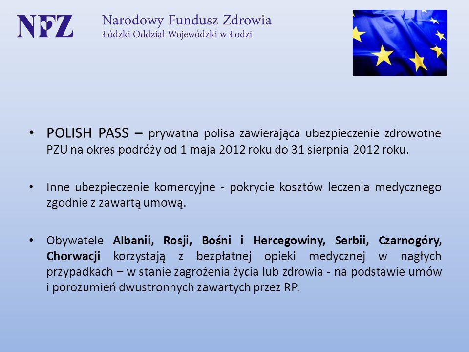 POLISH PASS – prywatna polisa zawierająca ubezpieczenie zdrowotne PZU na okres podróży od 1 maja 2012 roku do 31 sierpnia 2012 roku. Inne ubezpieczeni