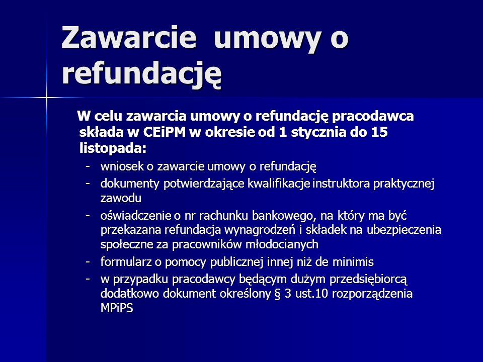 Zawarcie umowy o refundację W celu zawarcia umowy o refundację pracodawca składa w CEiPM w okresie od 1 stycznia do 15 listopada: W celu zawarcia umow