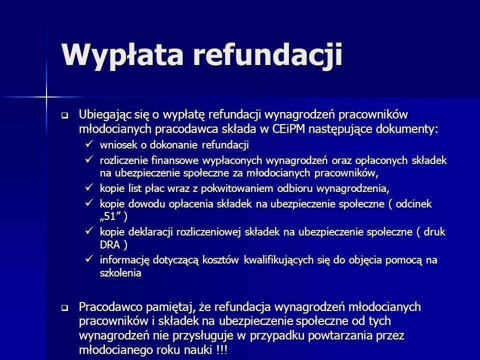 Wypłata refundacji Ubiegając się o wypłatę refundacji wynagrodzeń pracowników młodocianych pracodawca składa w CEiPM następujące dokumenty: Ubiegając