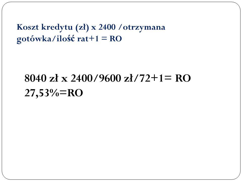 Koszt kredytu (zł) x 2400 /otrzymana gotówka/ilo ść rat+1 = RO 8040 zł x 2400/9600 zł/72+1= RO 27,53%=RO