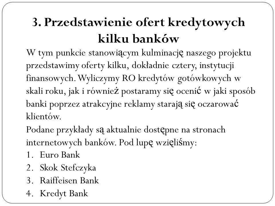 3. Przedstawienie ofert kredytowych kilku banków W tym punkcie stanowi ą cym kulminacj ę naszego projektu przedstawimy oferty kilku, dokładnie cztery,