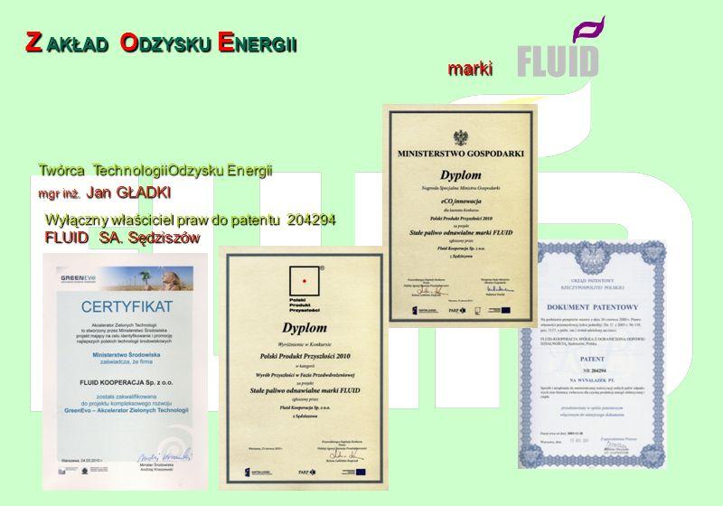 FLUID Z AKŁAD AKŁAD O DZYSKU O DZYSKU E NERGII marki Wyłączny właściciel praw do patentu 204294 FLUID SA. Sędziszów Twórca TechnologiiOdzysku Energii