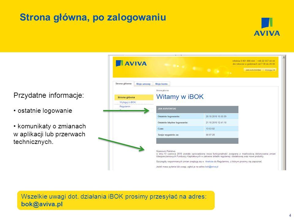 5 Przydatne informacje: lista posiadanych polis wartość środków zgromadzonych w UFK (aktywa) możliwość przejścia do szczegółów ubezpieczenia (np.