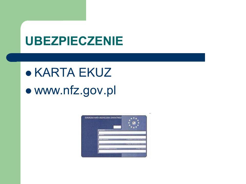 UBEZPIECZENIE KARTA EKUZ www.nfz.gov.pl