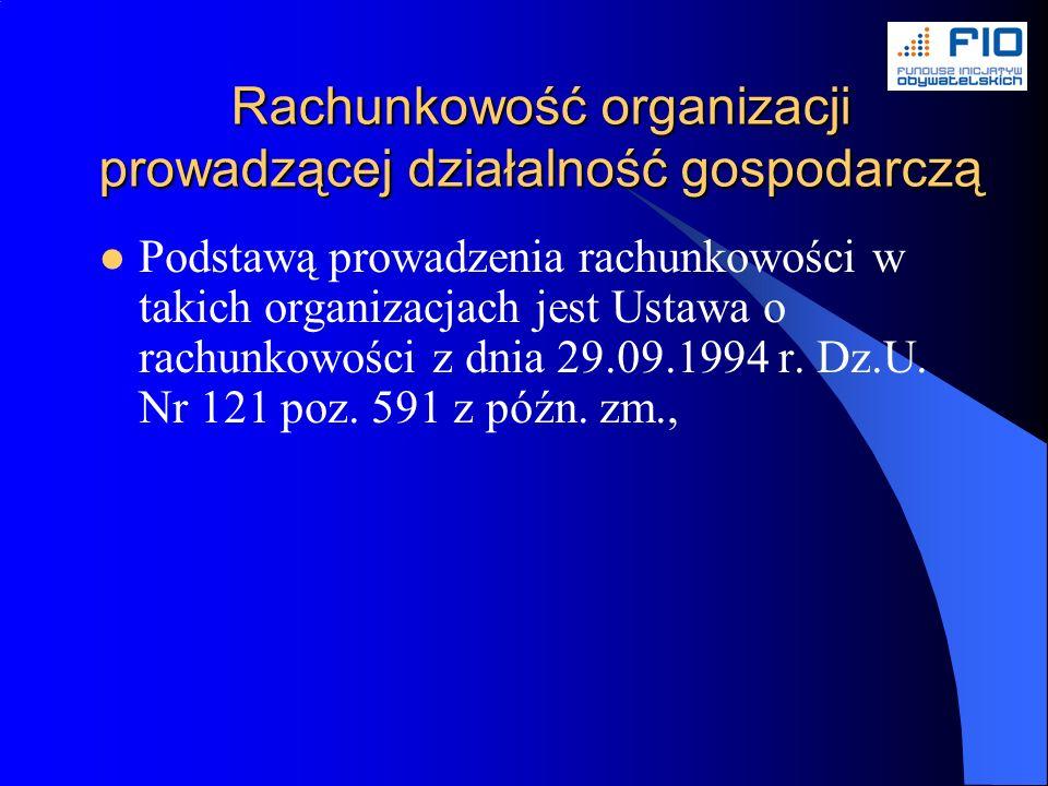 Rachunkowość organizacji prowadzącej działalność gospodarczą Podstawą prowadzenia rachunkowości w takich organizacjach jest Ustawa o rachunkowości z dnia 29.09.1994 r.