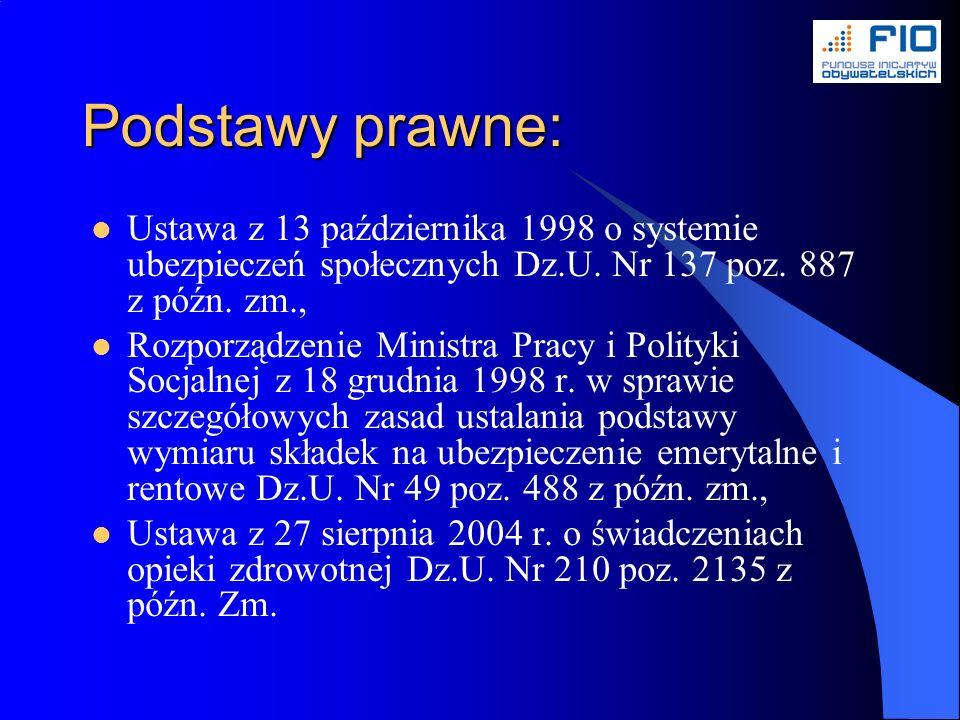 Podstawy prawne: Ustawa z 13 października 1998 o systemie ubezpieczeń społecznych Dz.U.