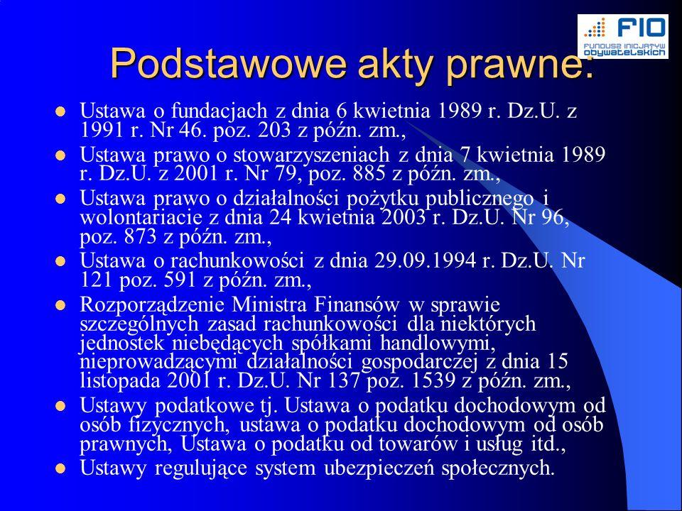 Podstawowe akty prawne: Ustawa o fundacjach z dnia 6 kwietnia 1989 r.
