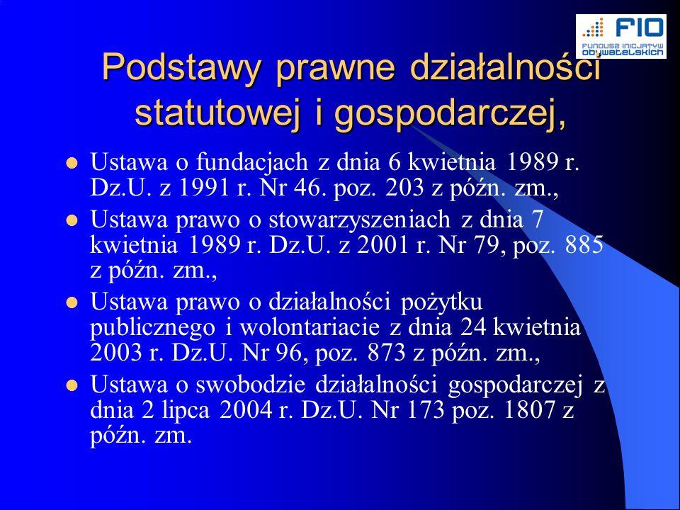 Podstawy prawne działalności statutowej i gospodarczej, Ustawa o fundacjach z dnia 6 kwietnia 1989 r.